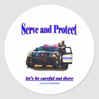 Police Serve and Protect Classic Round Sticker