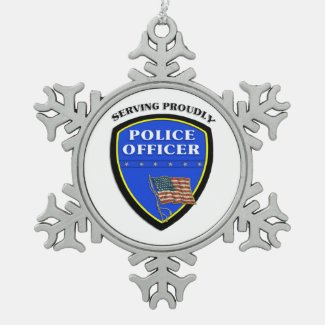Police Officer Christmas Ornament Badge Style Personalized