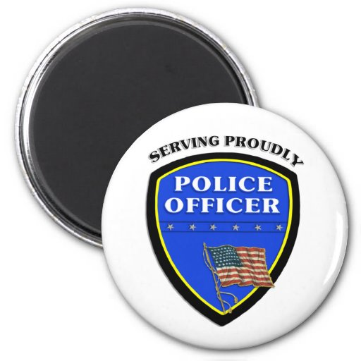 Police Serving Proudly 2 Inch Round Magnet