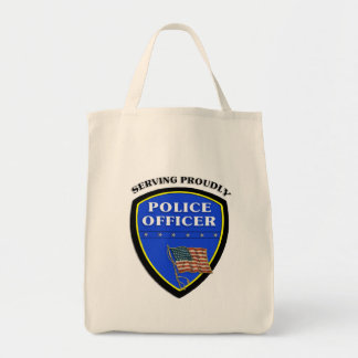 Police Serving Proudly Canvas Bags