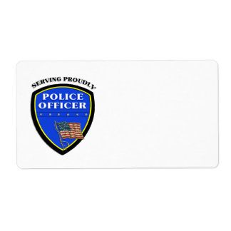 Police Serving Proudly Shipping Label