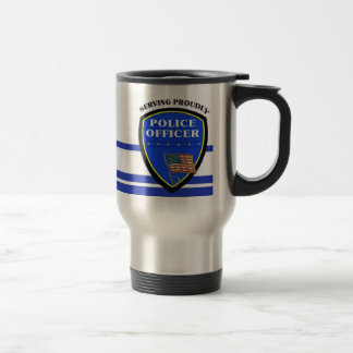 Police Serving Proudly 15 Oz Stainless Steel Travel Mug