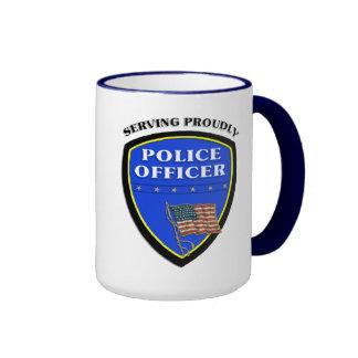 Police Serving Proudly Ringer Mug