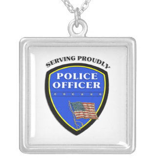 Police Serving Proudly Silver Plated Necklace