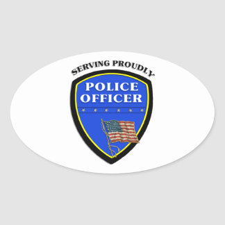 Police Serving Proudly Oval Stickers