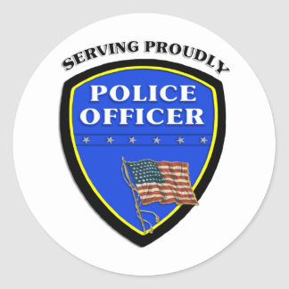 Police Serving Proudly Classic Round Sticker