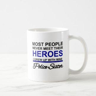 POLICE SISTER - GREW UP WITH HERO COFFEE MUG
