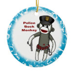 Police Sock Monkey blue ceramic round ornament