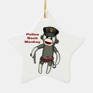 Police Sock Monkey Ornament