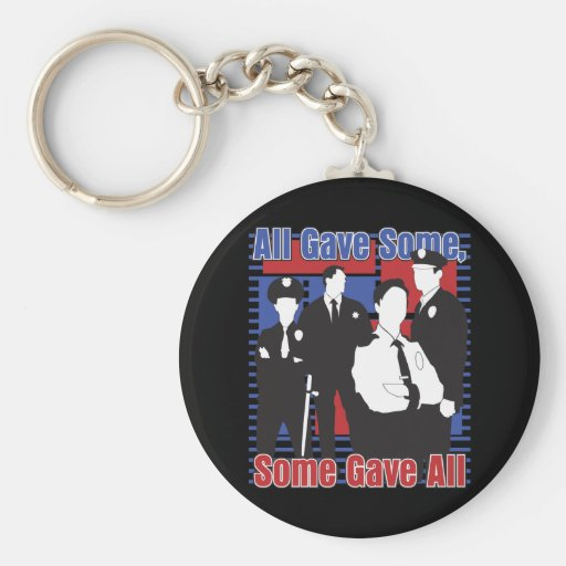 Police Some Gave All Basic Round Button Keychain