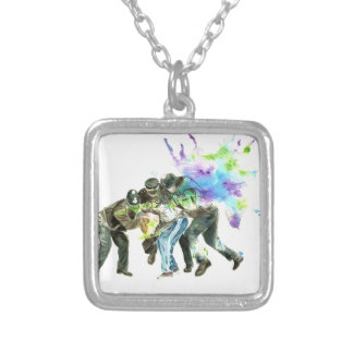 police splatter silver plated necklace