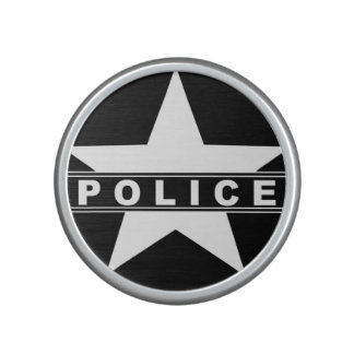police star text department badge law symbol bluetooth speaker