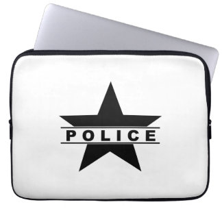 police star text department badge law symbol computer sleeve