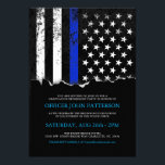 "Police Style American Flag Party|Event Invitation<br><div class=""desc"">A unique style invitation tailored to police and law enforcement parties, graduations, retirements or other events. The invitation features a thin blue line American flag with a distressed texture overlay. Overtop this is a torn out paper effect that holds your information. All elements of the invitation are adjustable, simply hit...</div>"