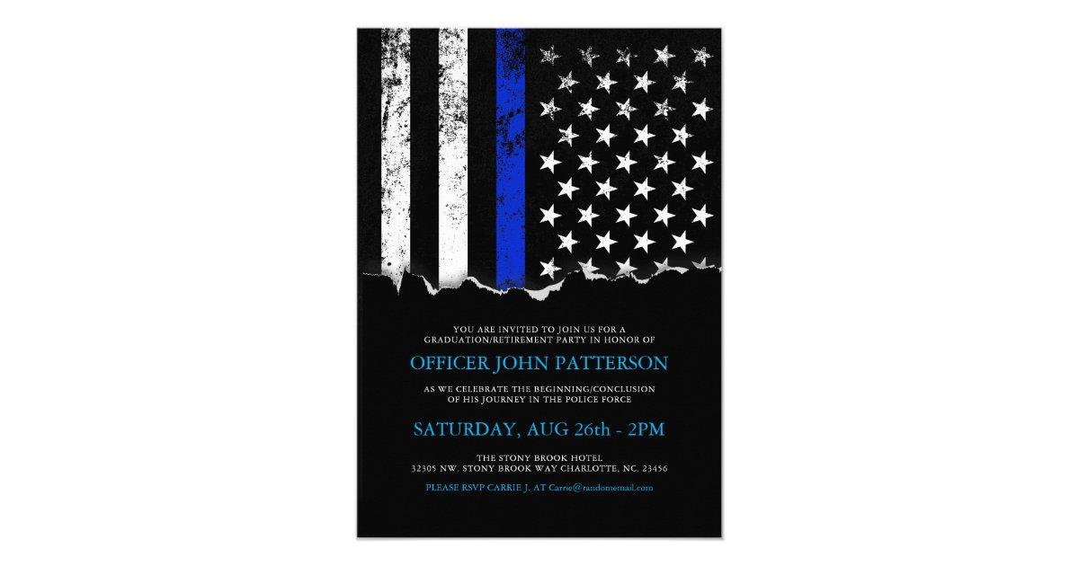 Police Style American Flag Party Event Invitation Zazzle Com