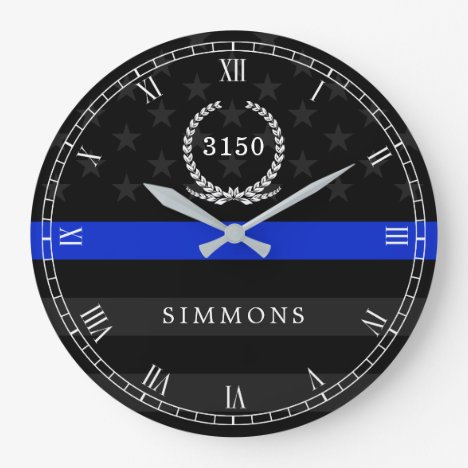 Police Styled American Flag Badge and Name Large Clock