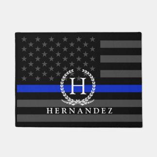 Police Styled American Flag Custom Monogram Doormat