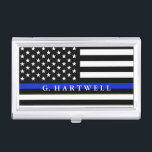 "Police Styled American Flag Custom Name Business Card Case<br><div class=""desc"">A personalize police flag custom name business card holder.</div>"