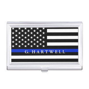 Business card holders cases zazzle police styled american flag custom name business card case colourmoves