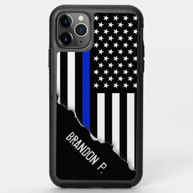 Police Styled American Flag Custom Name OtterBox iPhone Case