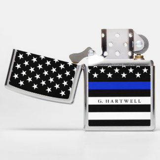 Police Styled American Flag Custom Name Zippo Lighter