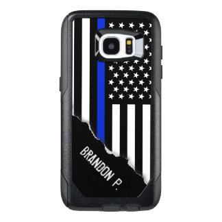 Police Styled American Flag Customized Name OtterBox Samsung Galaxy S7 Edge Case