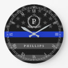 Police Styled American Flag Monogram Large Clock