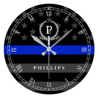 Police Styled American Flag Monogram Large Clock