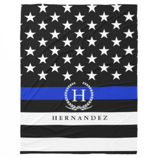 Police Styled American Flag Personalized Name Fleece Blanket
