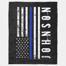 Police Styled Distressed American Flag Custom Fleece Blanket