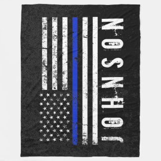 Police Styled Distressed American Flag Custom Fleece Blanket