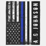 Police Styled Distressed American Flag Full Custom Fleece Blanket at Zazzle