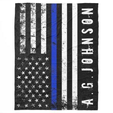 Police Styled Distressed American Flag Full Custom Fleece Blanket