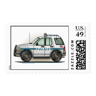 Police SUV Car Cruiser Postage Stamp