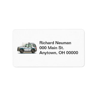Police SUV Cruiser Car Cop Car Address Label
