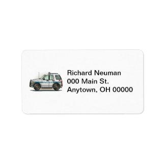 Police SUV Cruiser Car Cop Car Address Label