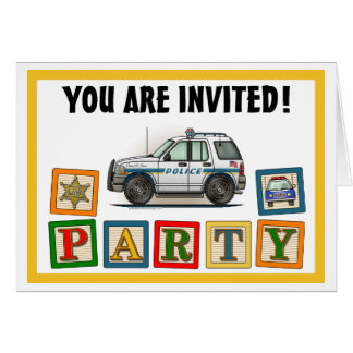 Police SUV Cruiser Car Cop Car Party Invitation