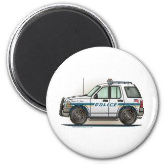 Police SUV Cruiser Car Cop Car Round Magnet