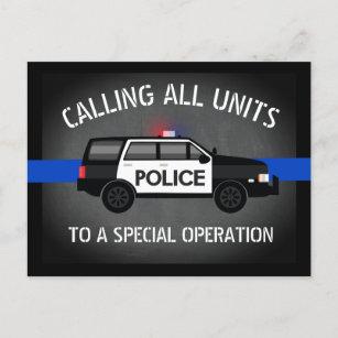 Police SUV Thin Blue Line Special Op Birthday Invitation Postcard