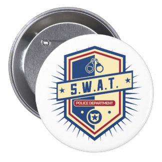 Police SWAT Crest 3 Inch Round Button