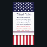 """Police Sympathy Thank You Flag Thin Blue Line Card<br><div class=""""desc"""">Patriotic sympathy memorial thank you card for police officer- Reads &quot;Thank You&quot; with a message of gratitude in blue script lettering. Option to change the sentiment to your own personalized words of thanks. Top has USA flag white stars on blue border design and bottom has American red and white stripes...</div>"""