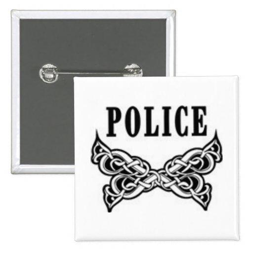 Police Tattoo 2 Inch Square Button