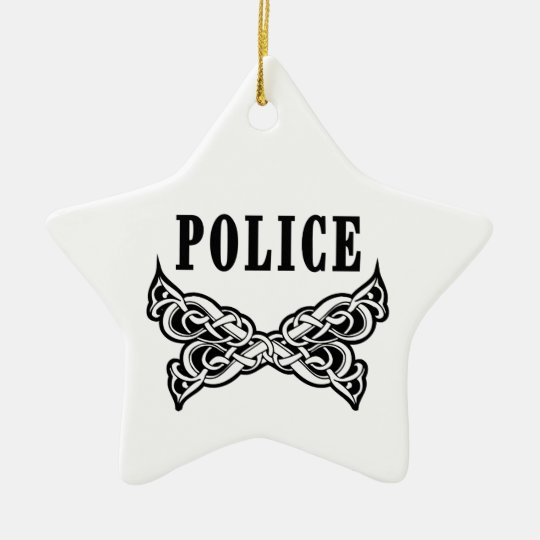 Police Tattoo Ceramic Ornament