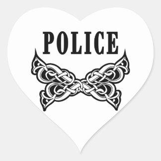 Police Tattoo Heart Sticker