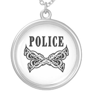 Police Tattoo Silver Plated Necklace