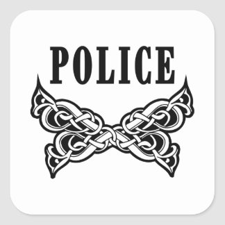 Police Tattoo Square Sticker