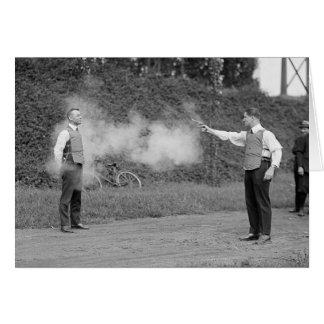 Police Test Bulletproof Vest, 1923 Card