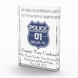 Police Thank You Plaque - In Recognition Of Award