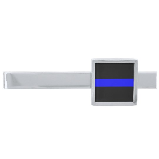 dc2c7865d957 Police - The Thin Blue Line Silver Finish Tie Bar | Zazzle.com