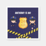 Hand shaped Police themed Birthday Party personalized Paper Napkin
